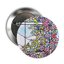 "Tiffany Floral Skylight - Fenway Gate 2.25"" Button"