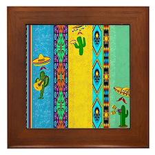 Mexican musicians pillow Framed Tile