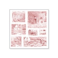 "English Cottages pillow Square Sticker 3"" x 3"""