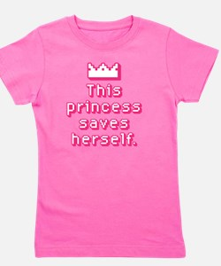 This Princess Saves Herself Girl's Tee