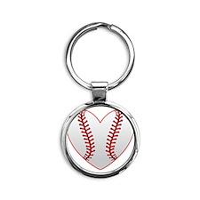 cute Baseball Heart Round Keychain