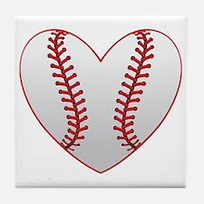 cute Baseball Heart Tile Coaster