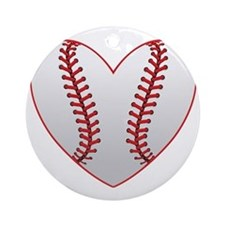 cute Baseball Heart Round Ornament