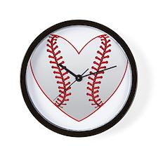 cute Baseball Heart Wall Clock