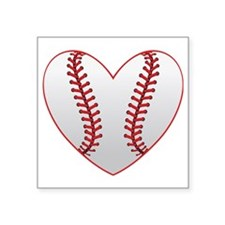 "cute Baseball Heart Square Sticker 3"" x 3"""