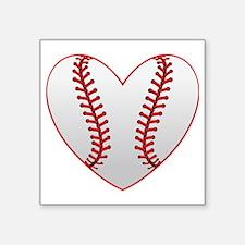 "cute Baseball Heart Square Sticker 3"" x 3"""