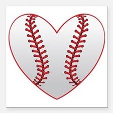 "cute Baseball Heart Square Car Magnet 3"" x 3"""