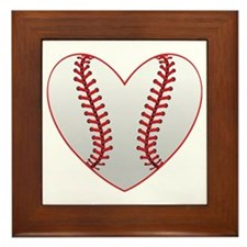 cute Baseball Heart Framed Tile