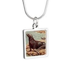 Sealions Silver Square Necklace