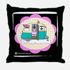 lil vintage trailer Throw Pillow