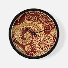 red gold swirls Wall Clock