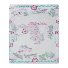 Vintage Florida Map Tablecloth Throw Blanket