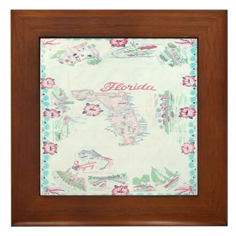 Vintage Florida Map Tablecloth Framed Tile