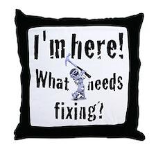 robot handyman with hammer Throw Pillow