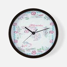 Vintage Florida Map Tablecloth Wall Clock