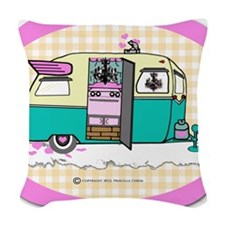 lil vintage trailer Woven Throw Pillow