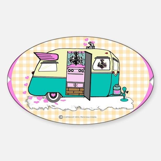 lil vintage trailer Sticker (Oval)