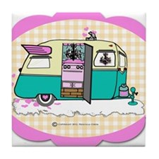 lil vintage trailer Tile Coaster