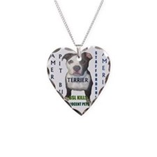 pit bull terrier bsl kills Necklace Heart Charm