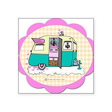 "lil vintage trailer Square Sticker 3"" x 3"""