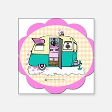 "lil vintage trailer Square Sticker 3"" x 3"""