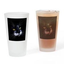 Black and White Cat Face Drinking Glass