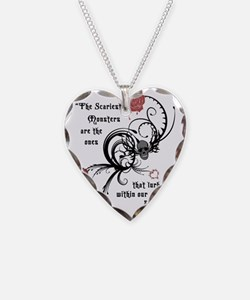 Cool Gothic Edgar Allen Poe Necklace Heart Charm