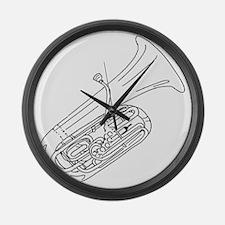 tuba-3 Large Wall Clock