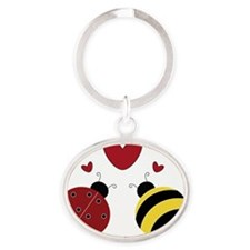 When Lady Met Bumble... Oval Keychain
