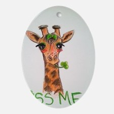 Kiss Me! Giraffe Print Oval Ornament