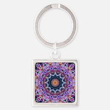 Purple Lotus Kaleidoscope Square Keychain