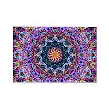 Purple Lotus Kaleidoscope Rectangle Magnet