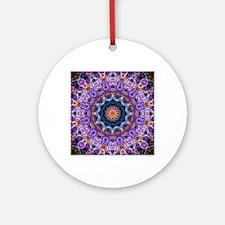 Purple Lotus Kaleidoscope Round Ornament