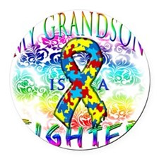 My Grandson Is A Fighter Round Car Magnet