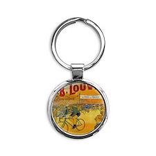 Vintage Tour de France Poster Round Keychain