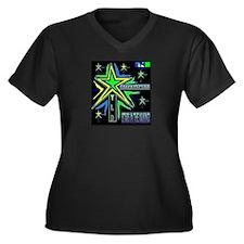 WKInc. Star Women's Plus Size V-Neck Dark T-Shirt