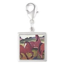 Watercolor Ponies Silver Square Charm