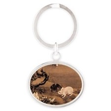 Japanese Rabbits Oval Keychain