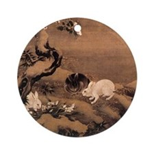 Japanese Rabbits Round Ornament
