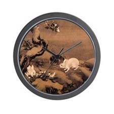 Japanese Rabbits Wall Clock