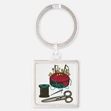 Tailoring Supplies Square Keychain