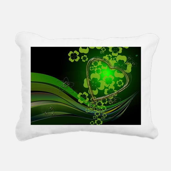 Heart And Shamrocks Rectangular Canvas Pillow