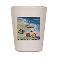 Vintage French Beach Travel Poster Shot Glass
