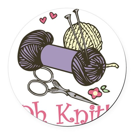 Oh Knit! Round Car Magnet