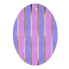 Blue and Pink Striped Oval Ornament