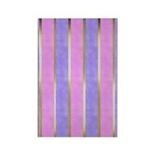 Blue and Pink Striped Rectangle Magnet