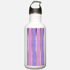 Blue and Pink Striped Water Bottle