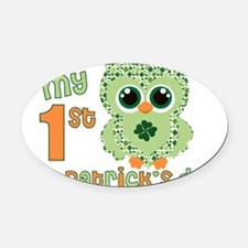 Babys first St. Patricks Day Oval Car Magnet