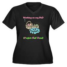 PhD Women's Plus Size Dark V-Neck T-Shirt