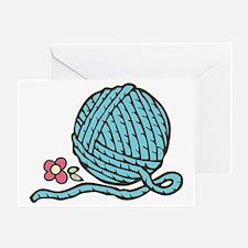 Blue Yarn Greeting Card